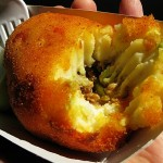 03-mashed-potato-ball-with-ground-beef-and-green-sauce
