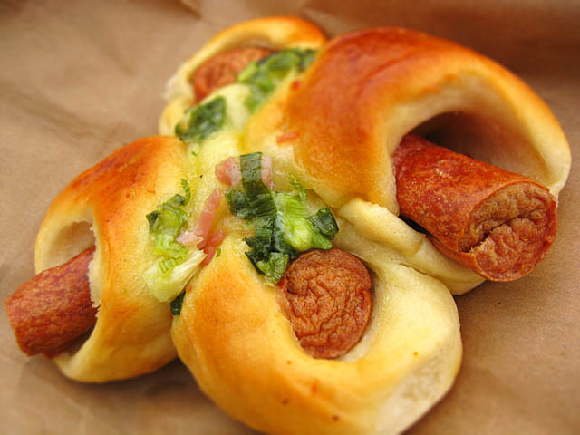 chinese pigs in blanket hotdog scallion bun Chinese Pigs in a Blanket
