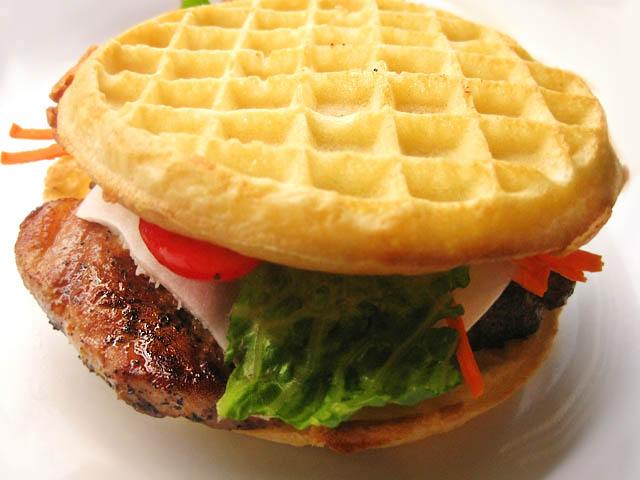 Pork Chop Waffle Sandwich | ME SO HUNGRY