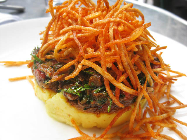 02 Braised Short Ribs of Beef tumeric mashed potatoes spiced shoestring potatoes Tabla Tabla Bread Bar