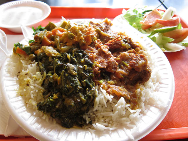 02 Curry Goat Saag & Mixed Vegetables - Curry Express