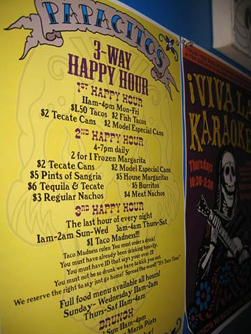 02 Papcitos Happy Hour Menu