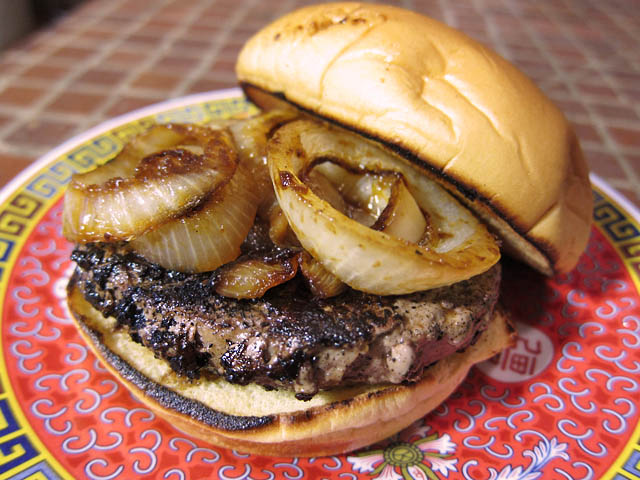 01 Omaha Steak Steak Burger with A1 Grilled Onions Omaha Steaks Steak Burger