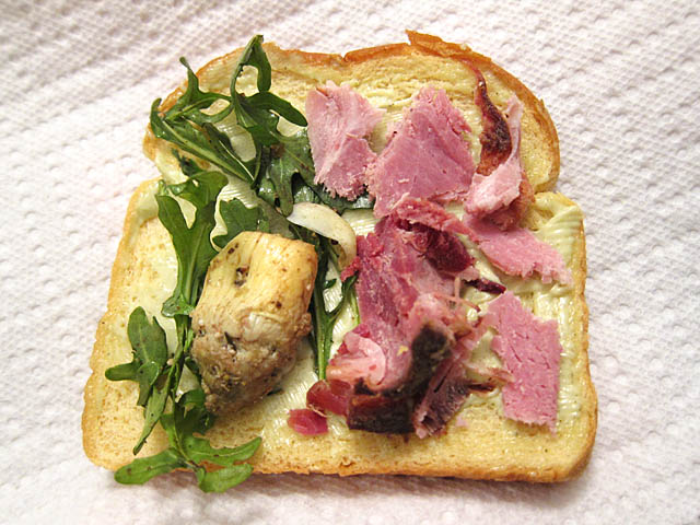 01 Open Face Ham Sandwich with Wasabi Mayo