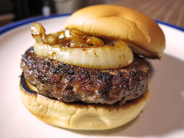 02 Omaha Steak Steak Burger with A1 Grilled Onions Omaha Steaks Steak Burger