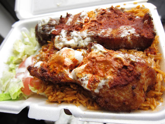 01 Fish over Rice 18th St 6th Ave Halal street cart Friday Fish from 18th St & 6th Ave Halal Street Cart