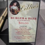 01 Lillies Burger Beer lunch special menu 150x150 Lillies $10 Burger & Beer Lunch Special