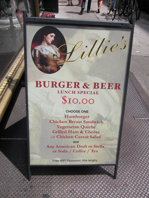 01 Lillie's Burger & Beer lunch special menu