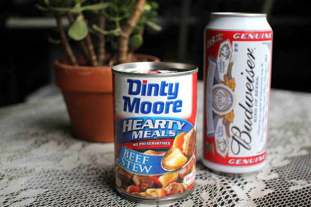 01 Dinty Moore Beef Stew and a Budweiser