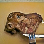 09 cutting off the cheek meat for the young girl who cant stand to look at the heads 150x150 Svið   Icelandic Boiled Sheeps Head
