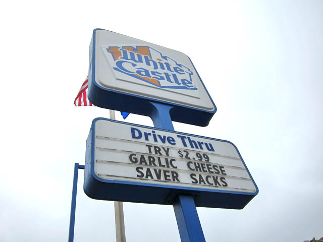 01 White Castle - Garlic Cheese Saver Sacks Sign