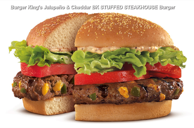 Jalapeno and Cheddar BK STUFFED STEAKHOUSE burger split This Week in Crazy Burgers