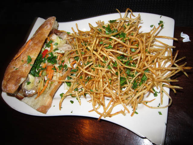 Pork Belly Sandwich and Shoe String Fries - Mulholland's