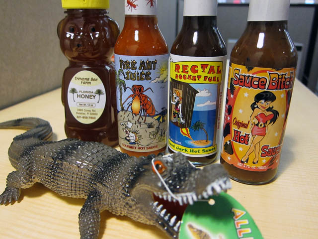 Hot Sauce bottles Ryan sent me Hot Sauce and an Alligator
