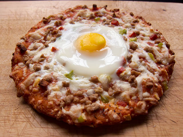 Egg on a Frozen Pizza - Jeno's Supreme Pizza