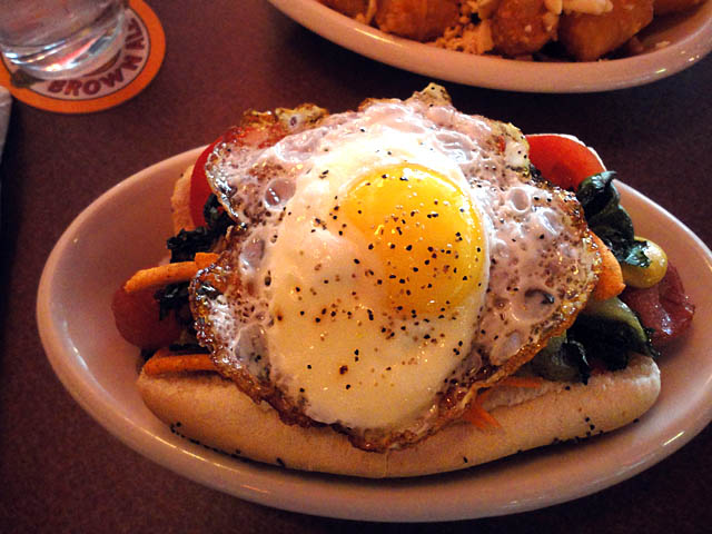 01 Hot Dog with Fried Egg, Kimchi, Bacon - Happy Dog Cleveland