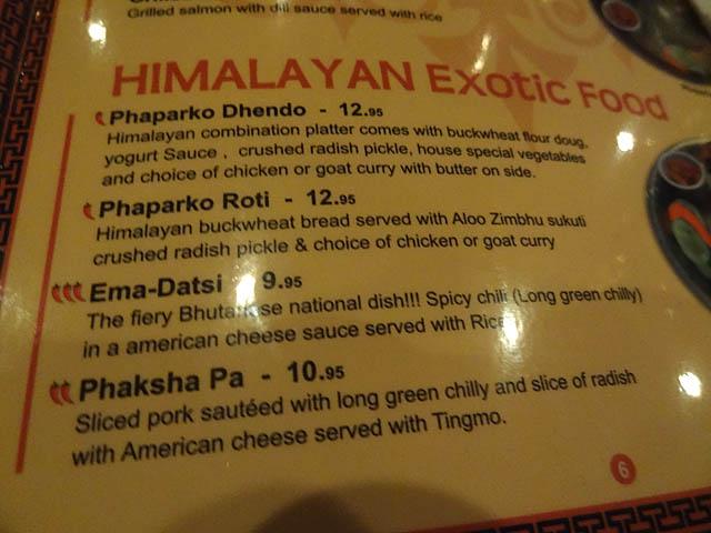 02 Exotic Food Menu Himalayan Yak Me So Hungry