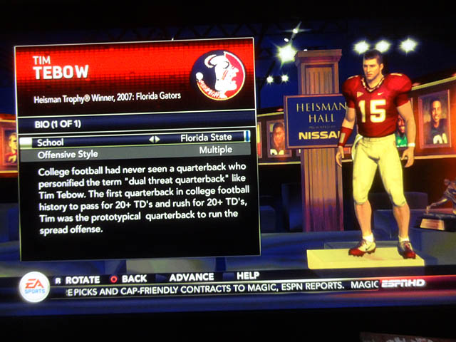 18 Tim Tebow FSU NCAA 13