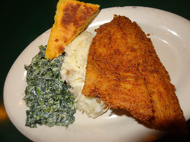 Fried Fish with mashed potatos and creamed spinach cornbread - Jimmy's Diner Brooklyn