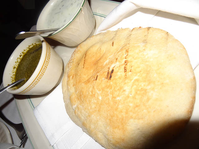 02 Bread with White and Chatni Green Sauce - Ravagh Persian Grill