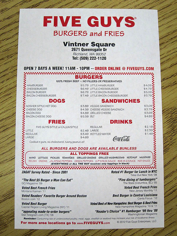 Five Guys Menu Vs Grab N Gos Click Photo To Enlarge Pictures
