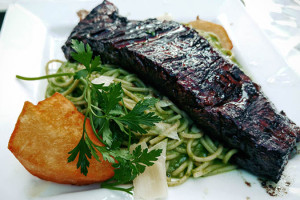 06 Skirt Steak with Green Basil Spaghetti - Chimu Brooklyn