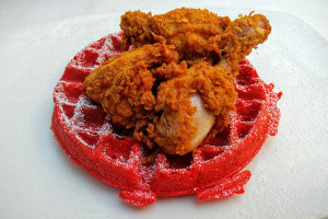 04 Buttermilk Fried Chicken and Red Velvet Waffle - SoCo Restaurant Brooklyn